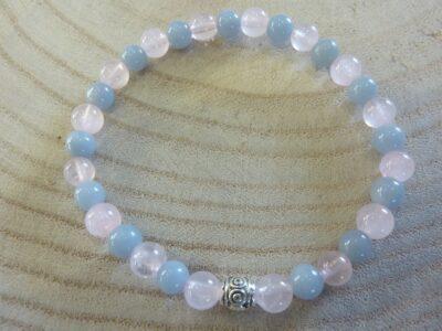 Bracelet Quartz rose-Angélite - Perles rondes 6 mm