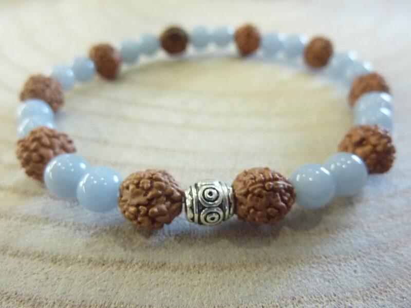 Bracelet Rudraksha-Angélite - Perles 8-6 mm