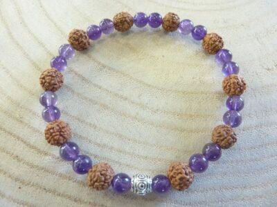 Bracelet Rudraksha-Améthyste - Perles 8-6 mm
