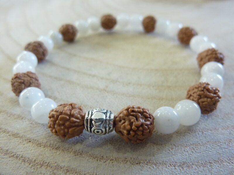 Bracelet Rudraksha-Pierre de lune - Perles 8-6 mm