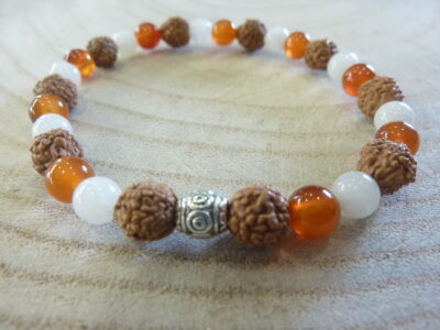 Bracelet Rudraksha-Pierre de lune-Cornaline - Perles 8-6 mm