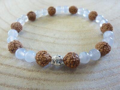 Bracelet Rudraksha-Calcédoine bleue - Perles 8-6 mm