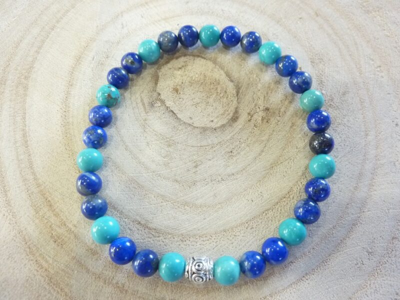 Bracelet Lapis lazuli-Turquoise - Perles rondes 6 mm