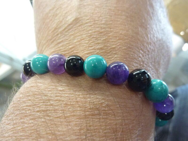 Bracelet Spinelle noir-Améthyste-Turquoise - Perles 8 mm