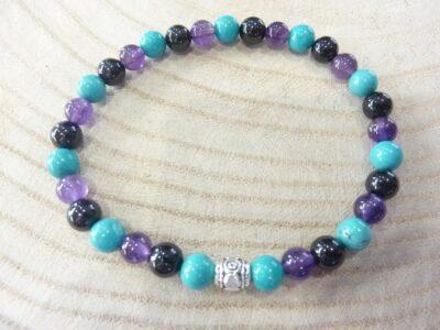 Bracelet Spinelle noir-Améthyste-Turquoise - Perles 6 mm