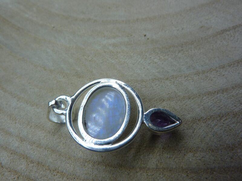 Pendentif pierre de lune-Améthyste monture argent 925 ref 1909