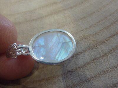 Pendentif pierre de lune monture argent 925 ref 9449