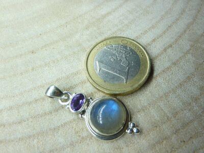 Pendentif Labradorite-Améthyste monture argent 925 ref 7149