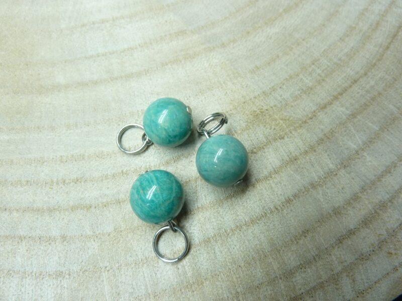Pendentif Amazonite perles rondes 10mm