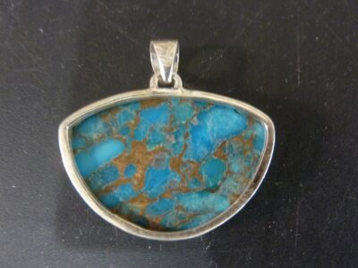 Pendentif Turquoise monture argent 925 ref 1752