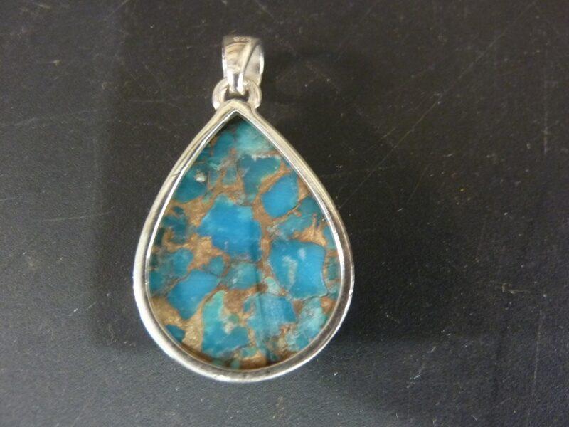 Pendentif Turquoise monture argent 925 ref 6786