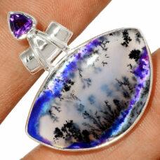 Pendentif Merlinite opale dentritique-Améthyste Monture argent 925 REF 0450
