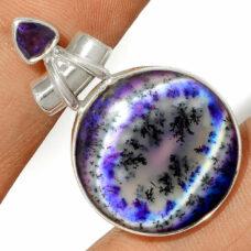 Pendentif Merlinite opale dentritique-Améthyste Monture argent 925 REF 0467