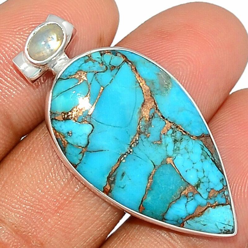 Pendentif Turquoise-Pierre de lune monture argent 925 ref 3291