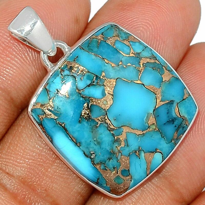 Pendentif Turquoise monture argent 925 ref 3300