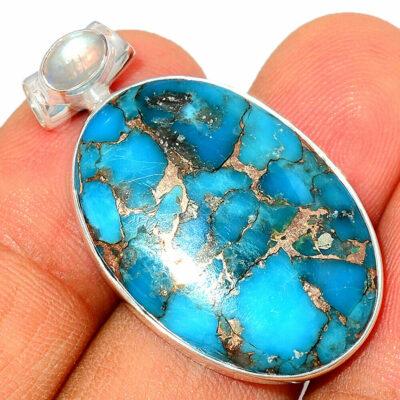 Pendentif Turquoise-Pierre de lune monture argent 925 ref 6758