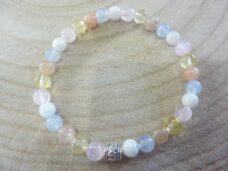 Bracelet citrine-pierre de lune-Calcédoine bleue-quartz rose-Pierre de soleil perles rondes 6 mm