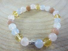 Bracelet citrine-pierre de lune-Calcédoine bleue-quartz rose-Pierre de soleil perles rondes 8 mm