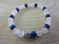 Bracelet Quartz rose-Lapis lazuli - Perles rondes 6 mm
