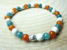 Bracelet Apatite-Cornaline-Howlite - perles rondes 6 mm