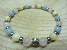 Bracelet Quartz rose-Hématite-Calcite orange-Angélite