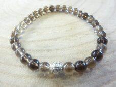 Bracelet Quartz fumé - Perles rondes 6 mm