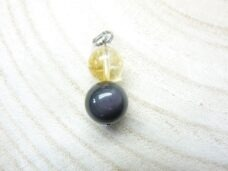 Pendentif obsidienne oeil céleste-citrine